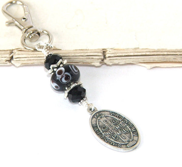 Saint Benedict Medal Clip-On Key Chain or Bag Charm