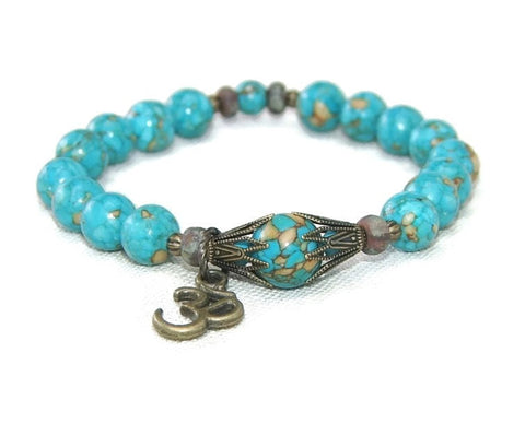 Turquoise blue stretch bracelet, New Zealand made