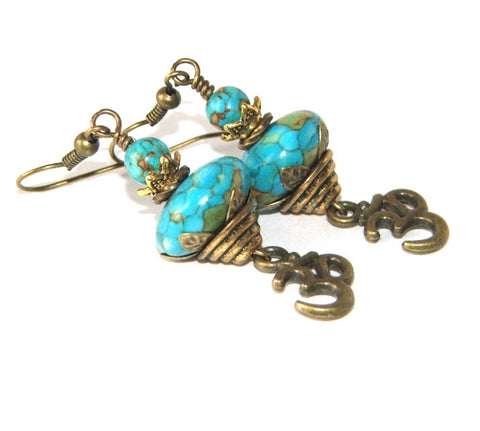 Turquoise om Earrings, NZ Made