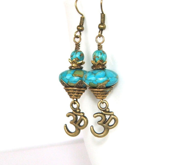 Om earrings, turquoise mosaic stone beads