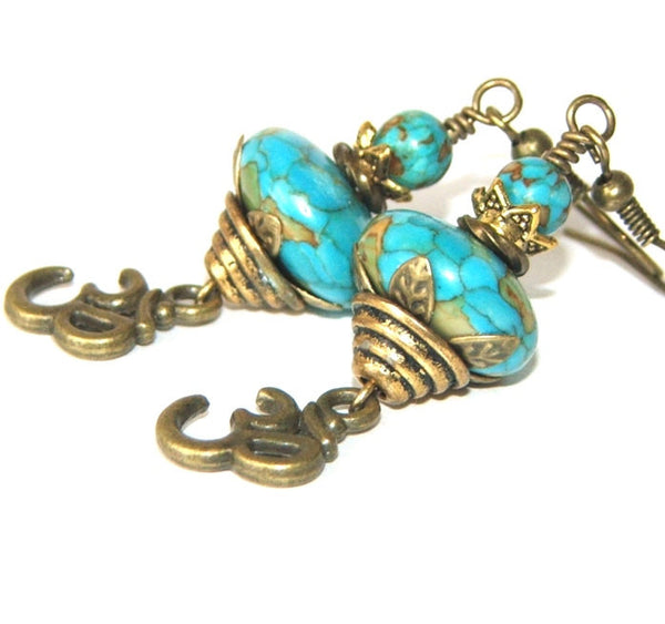 Om Earrings, Turquoise Mosaic Stone and Brass - Beautiful Spiritual Jewelry