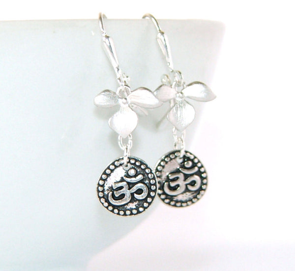 Om earrings, silver orchid drops