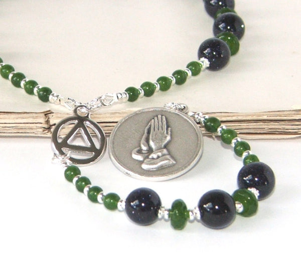 Serenity Prayer Beads, 12 Step Recovery Meditation Beads for Men