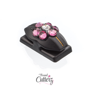 Thread Cutterz Limited Edition Black Flat Mount w/ Pink Swarovski Crystal Flower