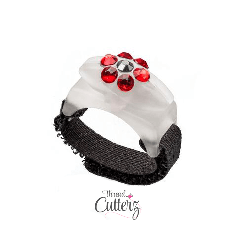 Thread Cutterz Glow Ring - Red Swarovski Flower Pattern - Limited Edition