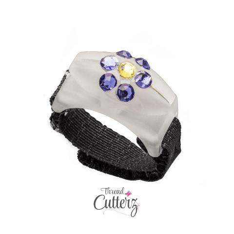 Thread Cutterz Ring Limited Edition Glow w/ Swarovski Bedazzled Blue Flower
