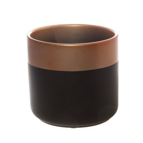 Ceramic Two Tone Cylinder Pot (13.5cm X 12.5cm)