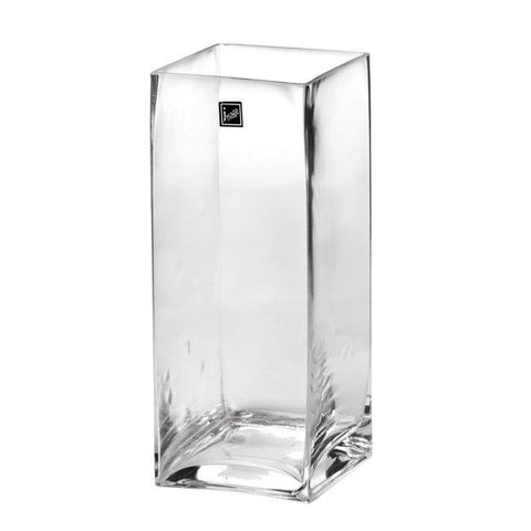 Clear Glass Square Vase (25cm X 10cm)