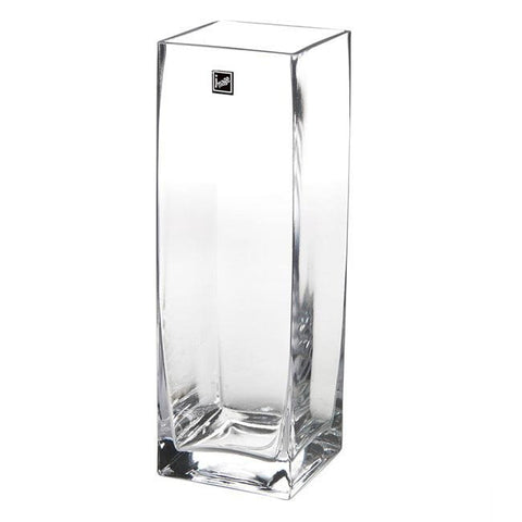 Clear Glass Square Vase (30cm X 10cm)