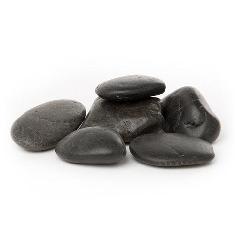 Polished River Pebbles - Black / White