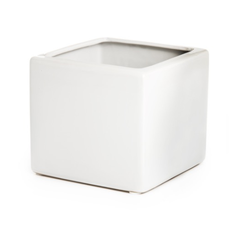 Ceramic Cube Pot - Assorted Colours (13cm x 13cm)