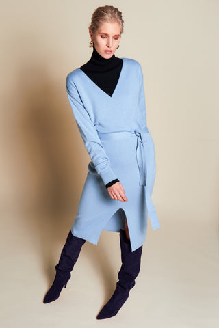 BEING ICE BLUE KNIT DRESS - rhumaa