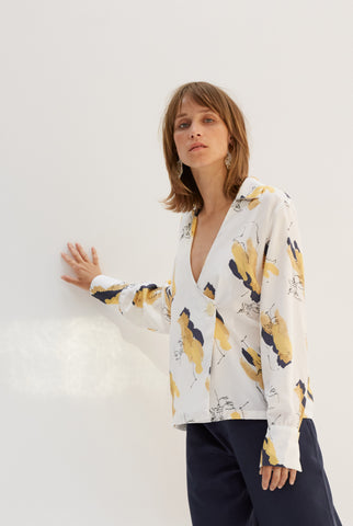 SELF PRINTED WRAP SHIRT - rhumaa