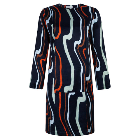 FLOW ART NAVY DRESS - rhumaa