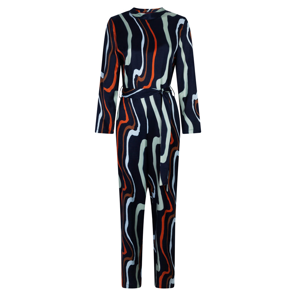 COMMUNICATE ART NAVY JUMPSUIT - rhumaa