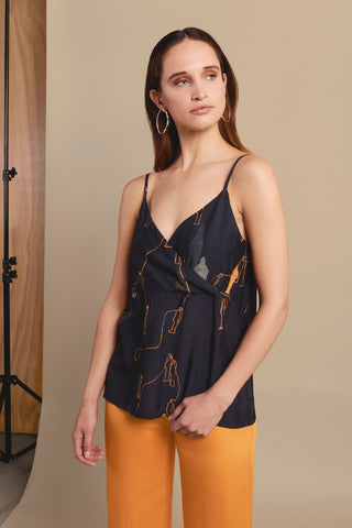 SENSATION NAVY ART CAMISOLE