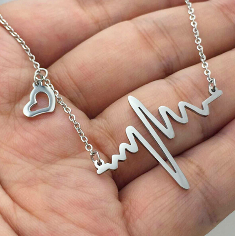 Electrocardiogram Heart Necklace