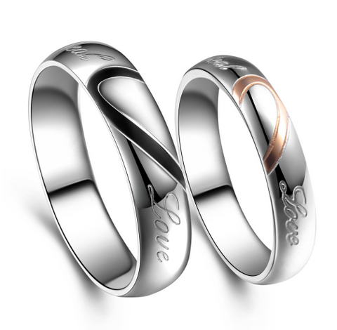 Romantic Half Heart Couple Ring