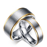 Stainless Steel Beveled Edge Couple Ring