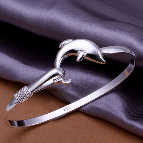 Silver Plated Dolphin Bangle