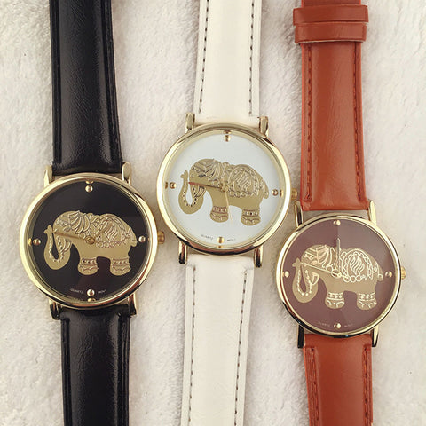 Casual Elephant Leather Watch