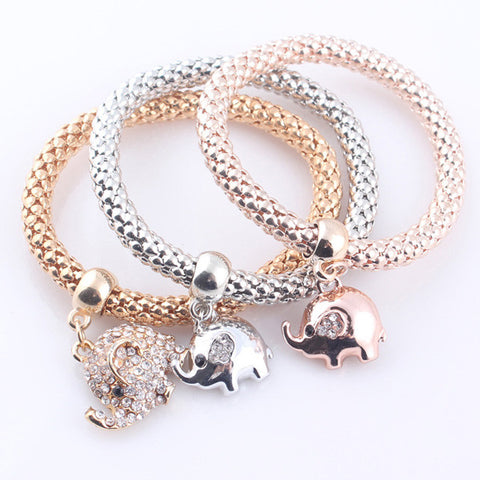 Crystal Elephant Bracelet Set