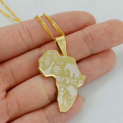 Africa Gold Pendant Necklace