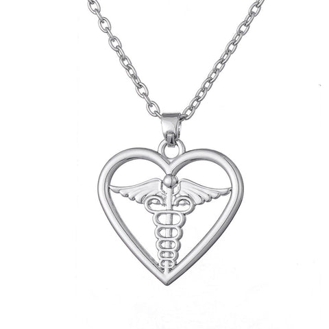 Caduceus Heart Pendant Necklace