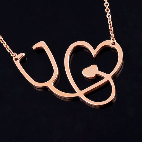 Heart Stethoscope Chain Necklace