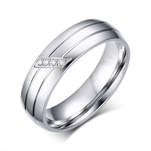 Double Stripe Silver Couple Ring
