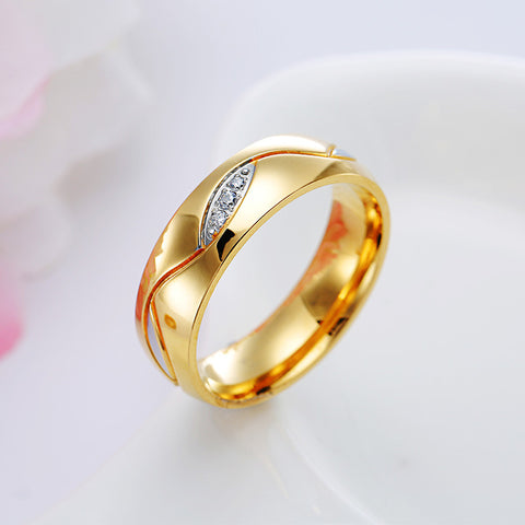 Gold Plated Zircon Couple Ring