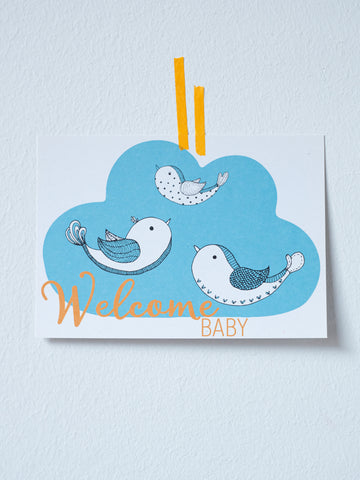 Postkarte Vogelfamilie Carlsson *Welcome Baby*