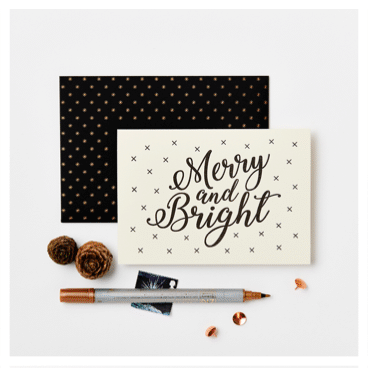 "Weihnachtskarte ""Merry and Bright"""