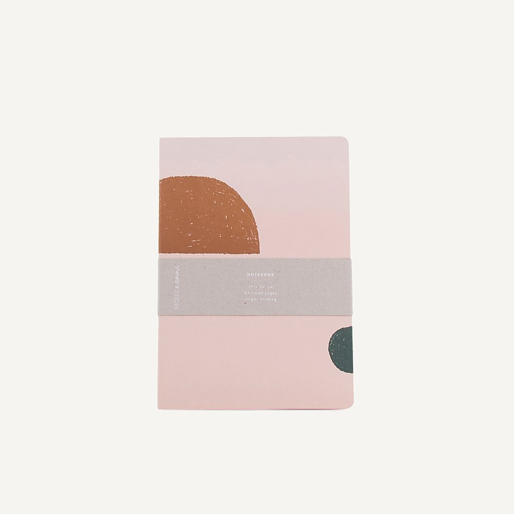 Notebook L handdrawn shapes soft pink | Monk & Anna