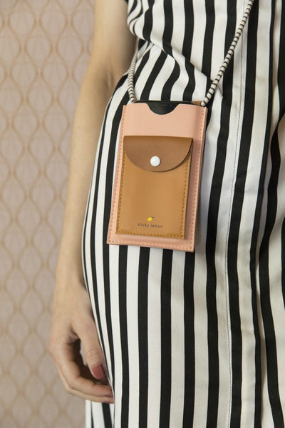 phone pouch pink + brown Handytasche | Sticky Lemon