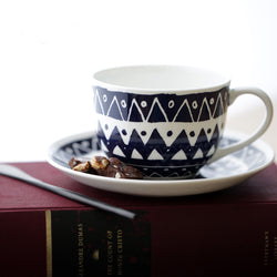 Black and White Aztec Cup and Saucer