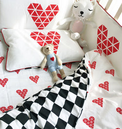 Geometric Hearts Crib Bedding Set