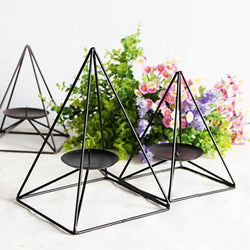 Minimalist Metal Pyramid Tea Light Holder