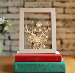 Framed Snowy Deer Light Up Art