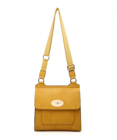 ALB Yellow Buckle Padlock Cross Body Bags