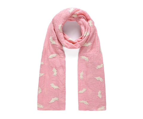 ALB Pink Embroidered Cream Feather Scarf