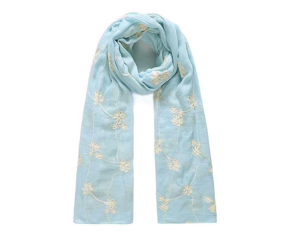 ALB Blue Embroidered Flower Scarf