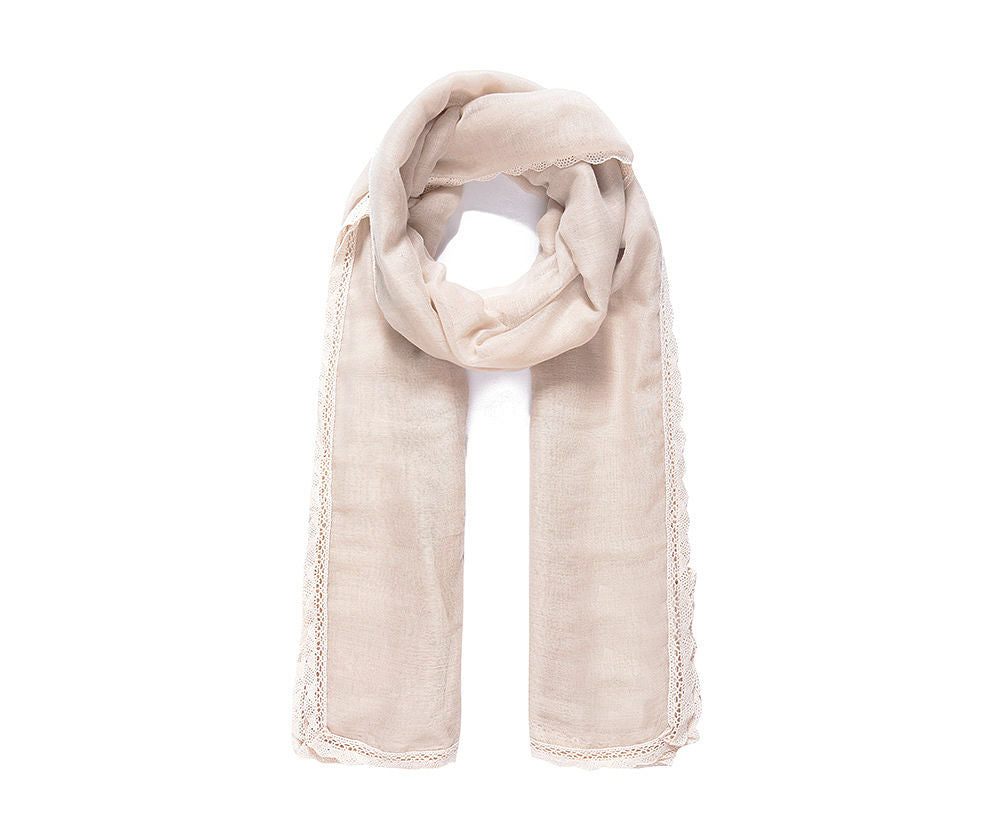 ALB Beige Lace Edged Scarf