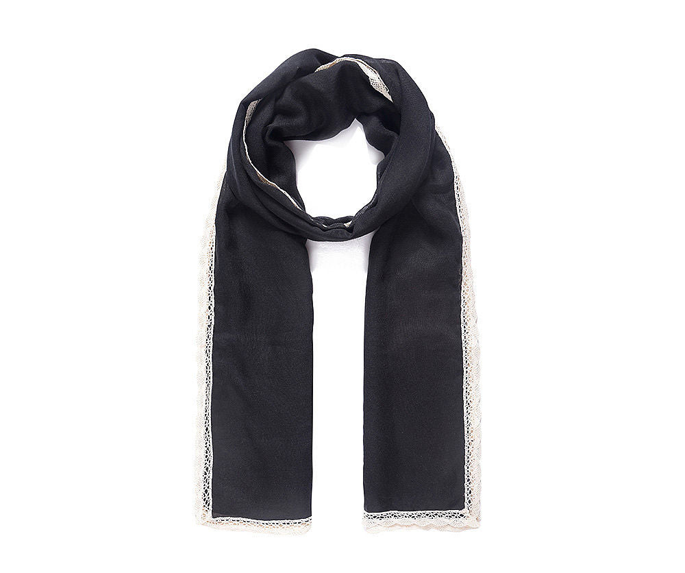 ALB Black Lace Edged Scarf