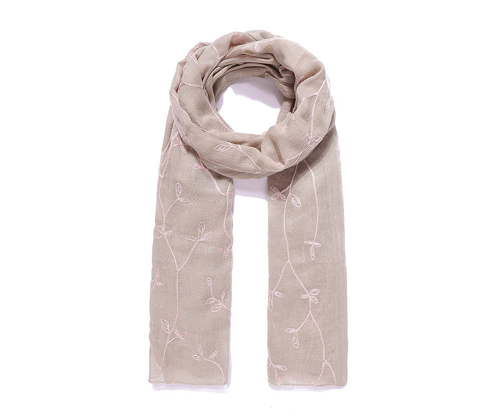 ALB Beige Embroidered Floral Scarf