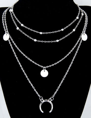 ALB Silver Layered Moon Necklace