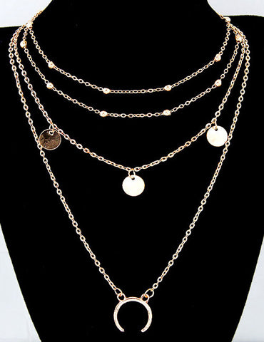 ALB Gold Layered Moon Necklace