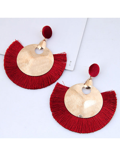 ALB Red Large Circle Tassel Earrings