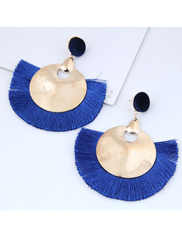 ALB Cobalt Blue Large Circle Tassel Earrings