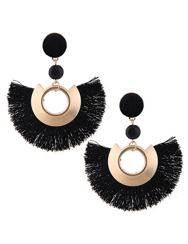 ALB Black Gold Half Tassel Earrings